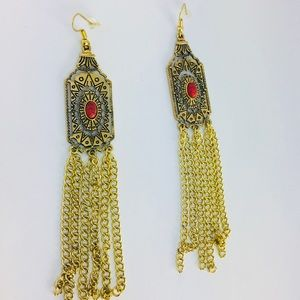 New! Native American Chain Tassels Earrings Gold